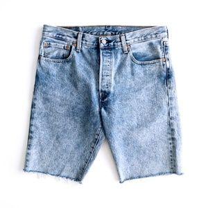 Levis Men's Raw Hem Acid / Stone Wash Jean Shorts